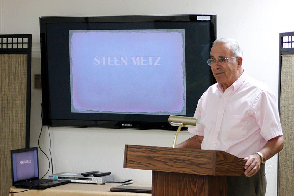 Survivor speaking to class of students