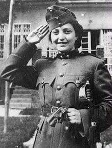 black and white photo of woman in uniform