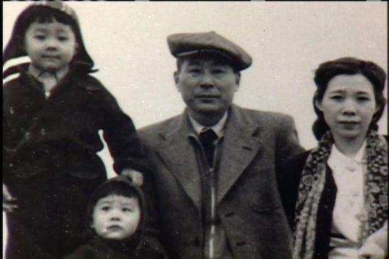 black and white photo of survivors