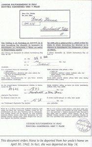Hana's 1942 Deportation papers