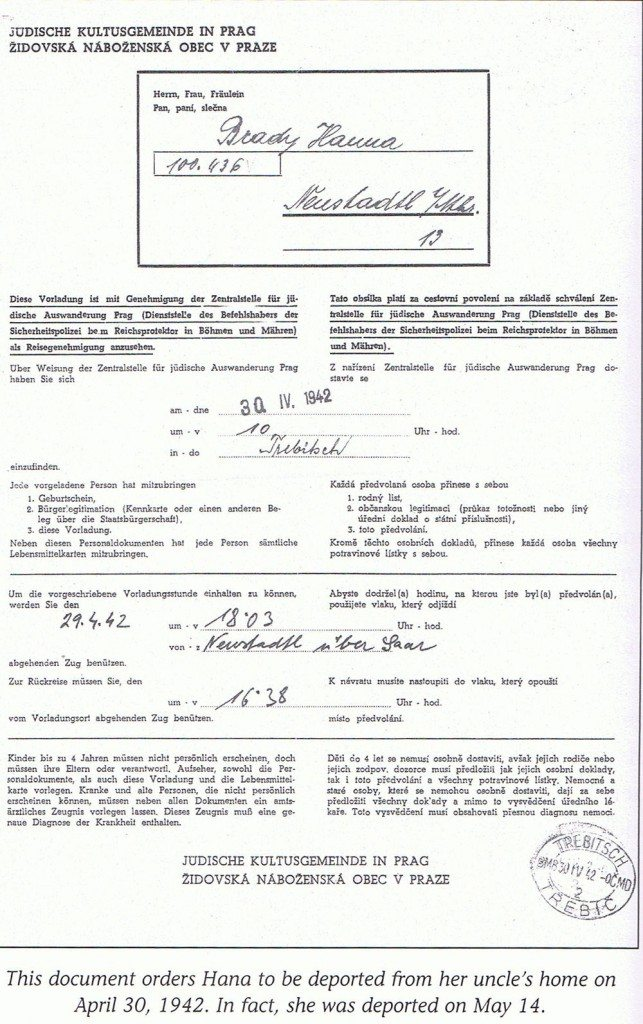 Hana's 1942 Deportation papers
