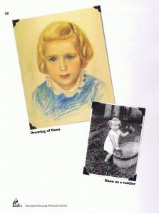 Drawing of Hana and photograph of her as a toddler