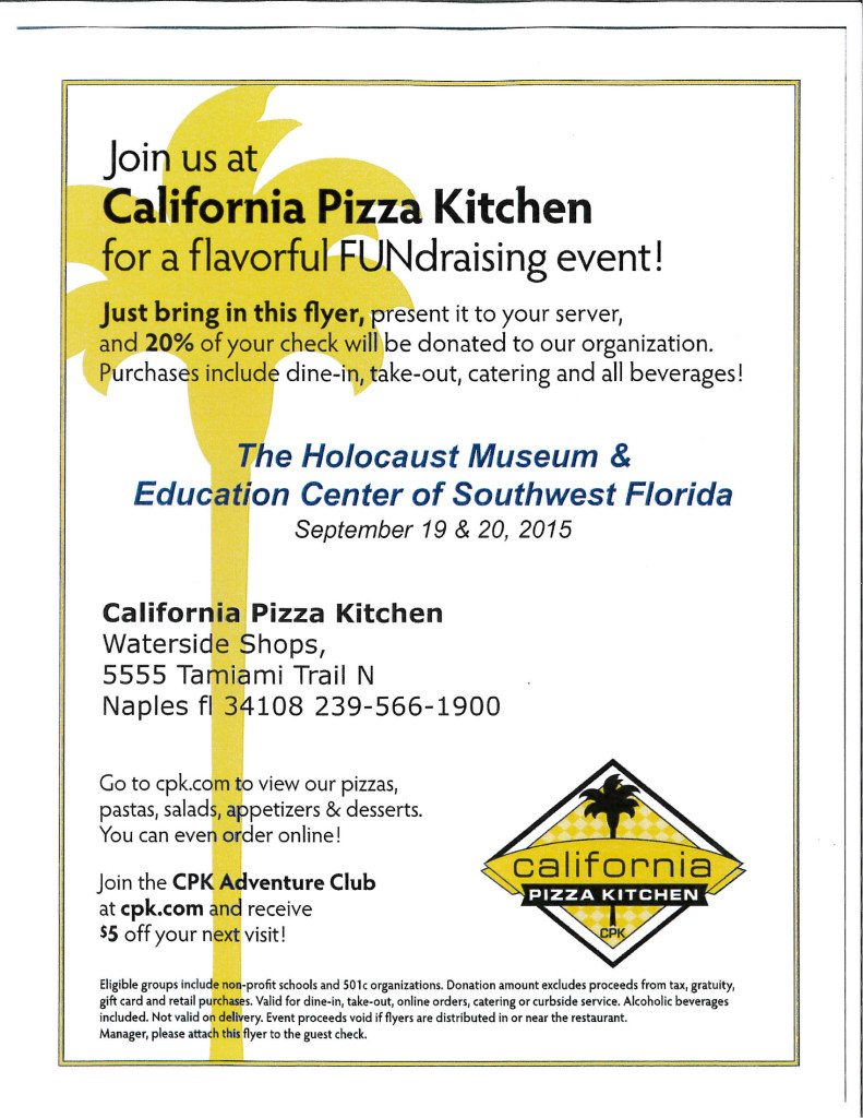 Print out this flyer and bring with you to California Pizza Kitchen