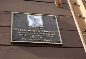 Boxcar plaque honoring Morris and Rose Nortman