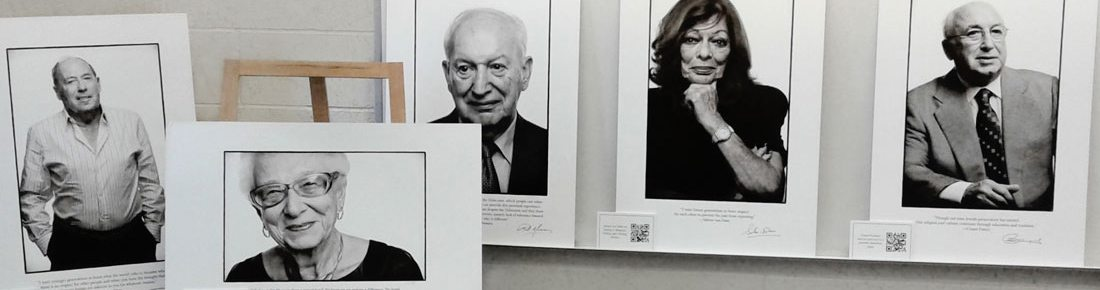 black and white photos of holocaust survivors on display for exhibit