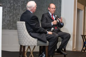 Phil Jones and David Eisenhower discussing Dwight Eisenhower's legacy and impact