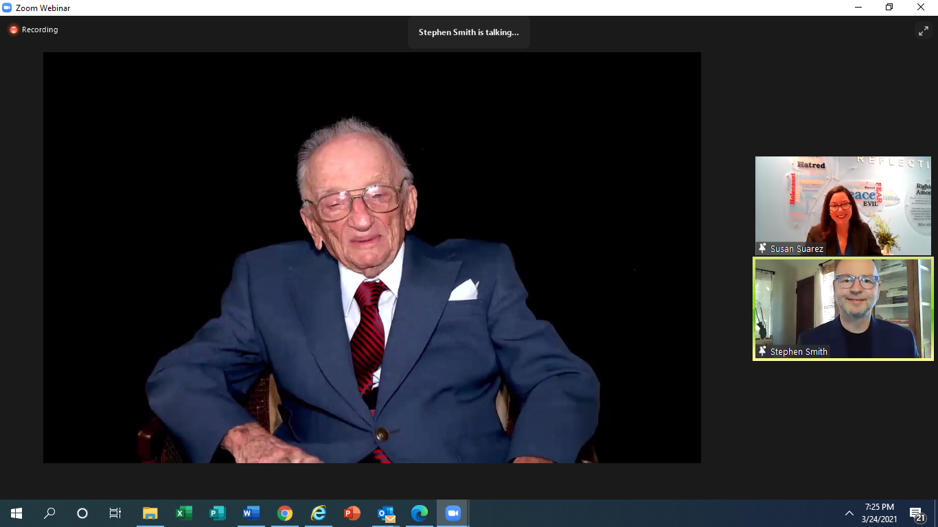 Ben Ferencz hologram answering questions from Stephen Smith