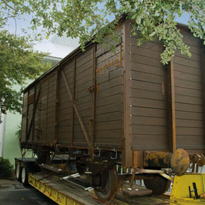 The boxcar as displayed in front of the Holocaust Museum.