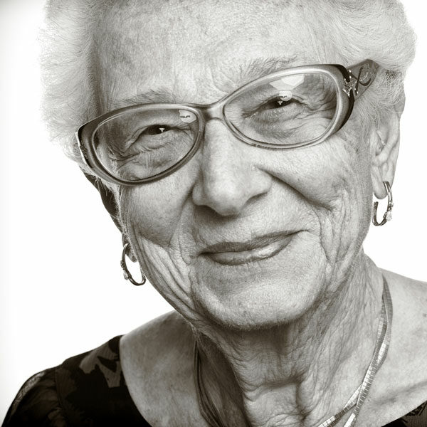 black and white photo of survivor lorie mayer